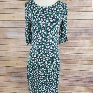 Lilly Pulitzer 3/4 Sleeve Floral Fitted Mini Dress